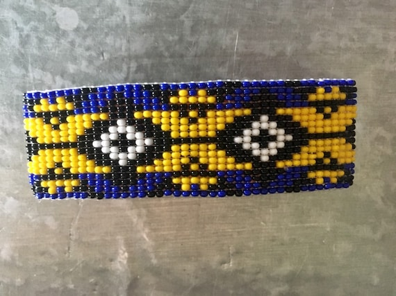 Wide Loom Beaded Barrette Cobalt Background