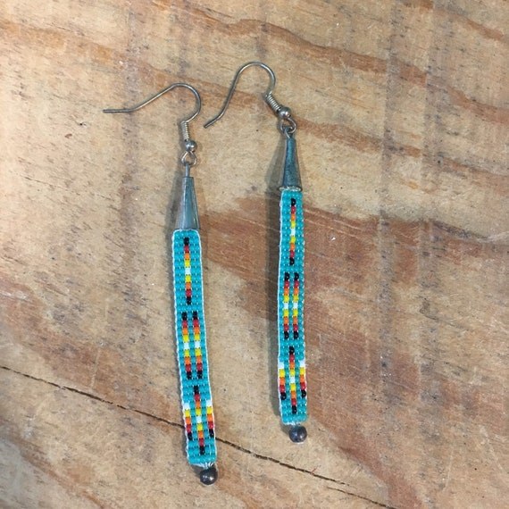 Loom Beaded Turquoise Long Drop Earrings
