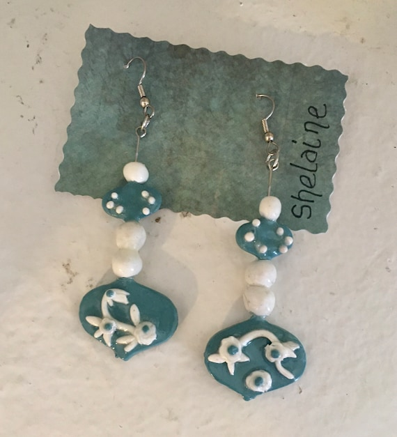 Dangle Earrings in Blue and White Polymer Clay