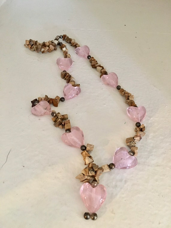 Pink Heart and Natural Stone Bead Necklace