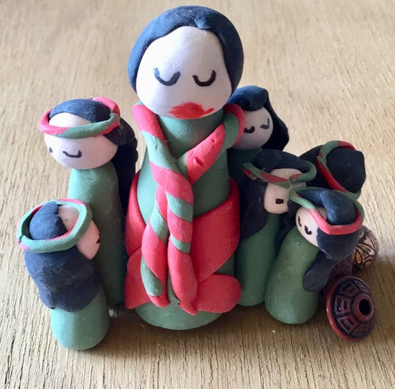 Storyteller in Red/Green Polymer Clay