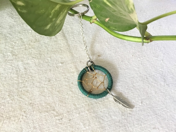 Green Dreamcatcher Keychain with Feather Charm