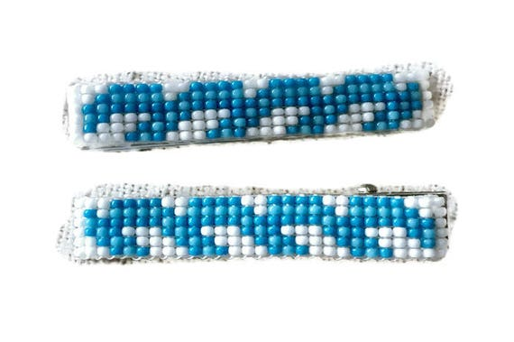 Blue/White Medium Loom Beaded Hair Barrette Pair