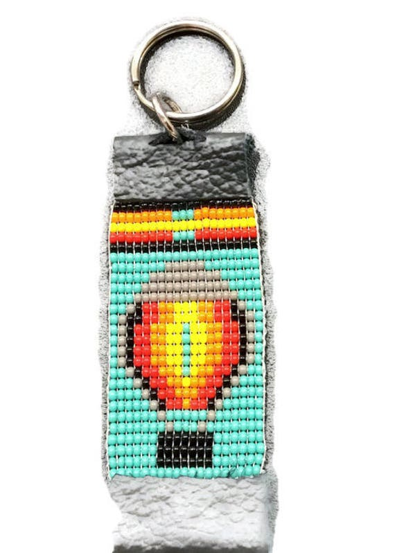 Hot Air Balloon Turquoise Loom Beaded Keychain