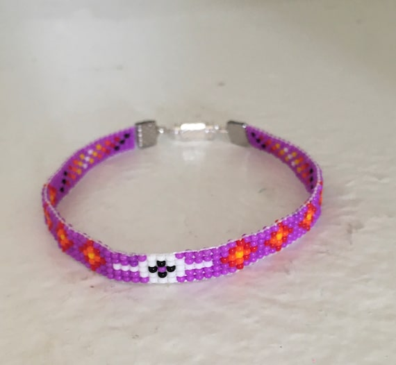Purple Loom Beaded Narrow Bracelet
