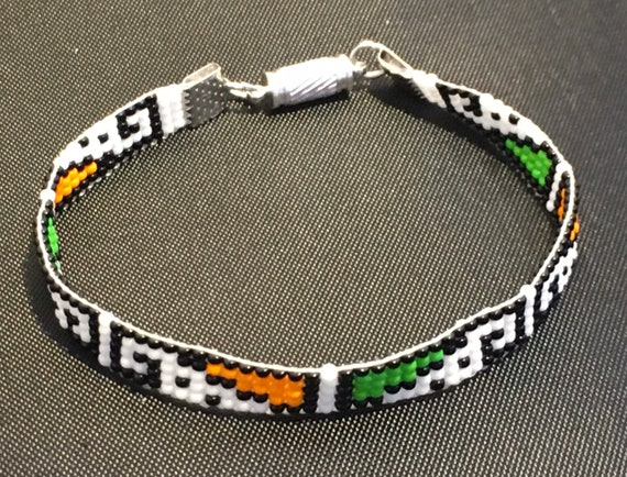 Loom Beaded Geometric Design Narrow Bracelet