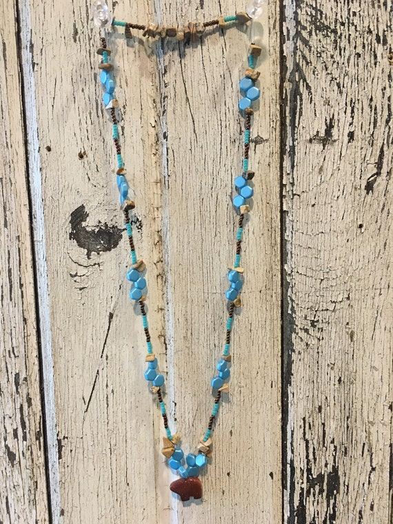 Southwest Inspired Turquoise Copper and Stone Necklace with Bear Pendant