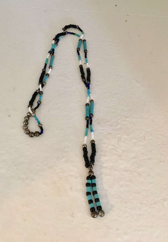 Turquoise Black and White Single Strand Beaded Necklace