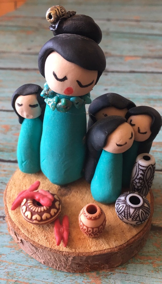 Storyteller in Turquoise Polymer Clay