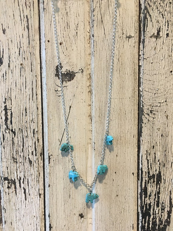 Turquoise Bears Pendant Necklace