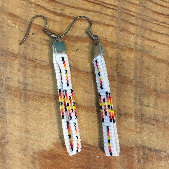 Long Beaded Loop Earrings in White and Sunset Color Accents