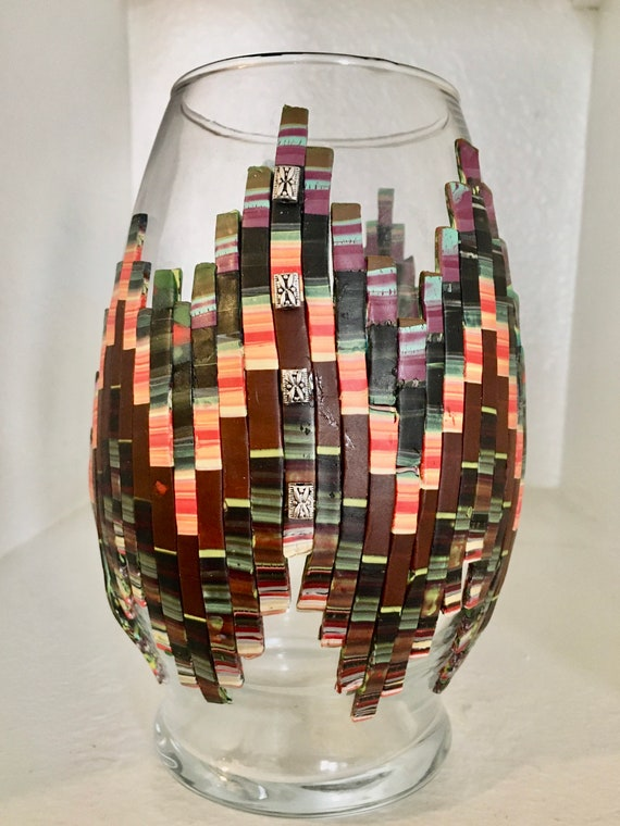Decorated Glass Vase With Bargello Pattern Polymer Clay