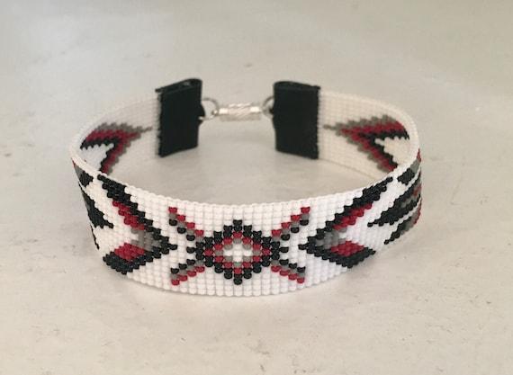 Feathers and Diamond Loom Beaded Medium Bracelet