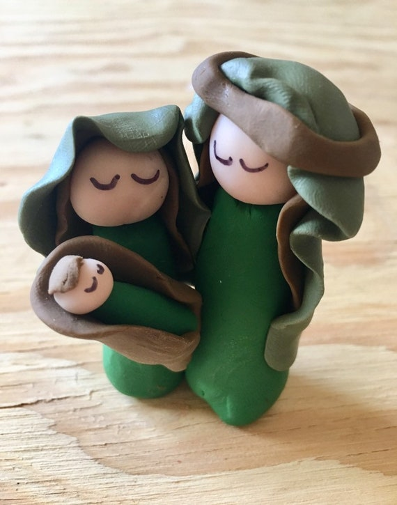 Green One Piece 3 Figure Clay Nativity
