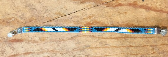 Turquoise and Black with Color Design Narrow Loom Beaded Bracelet
