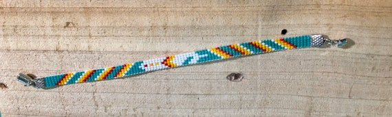 Turquoise and Bright Color Loom Beaded Bracelet with Feather Pattern