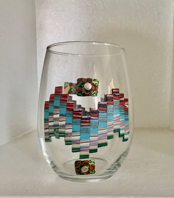 Decorated Bargello Pattern Glass Vase