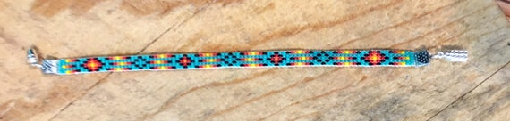 Turquoise Narrow Loom Beaded Bracelet