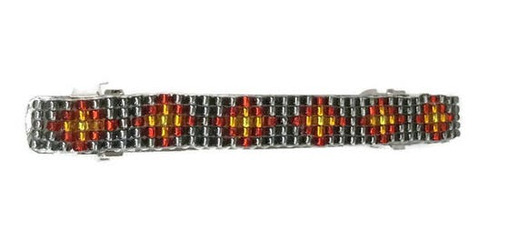 Gray/Red Shiny Loom Beaded Hair Barrette
