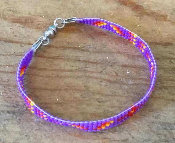 Purple Narrow Loom Beaded Bracelet