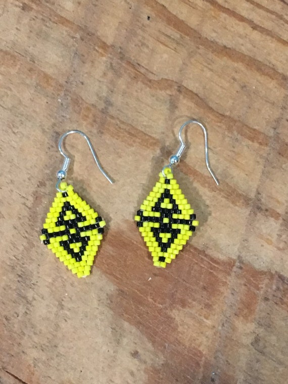 Yellow Brickstitch Dangle Beaded Earrings