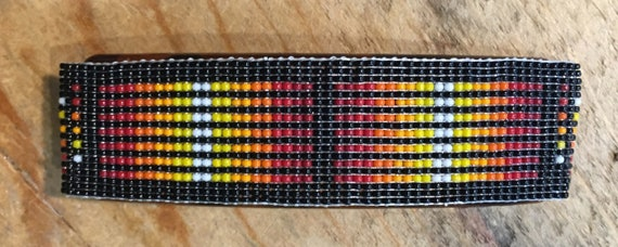 Loom Beaded Wide Barrette Black and Flame Colors
