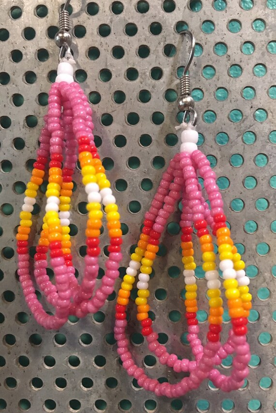 Beaded Three Strand Pierced Earrings