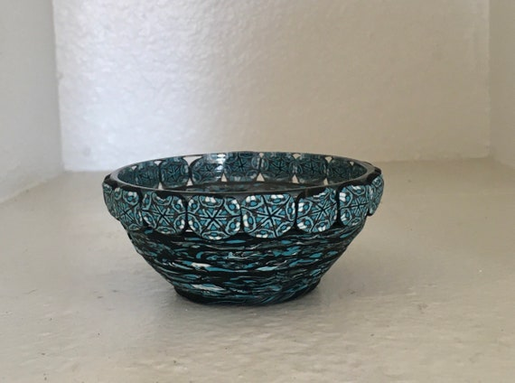Decorated Trinket Bowl Glass and Polymer Clay