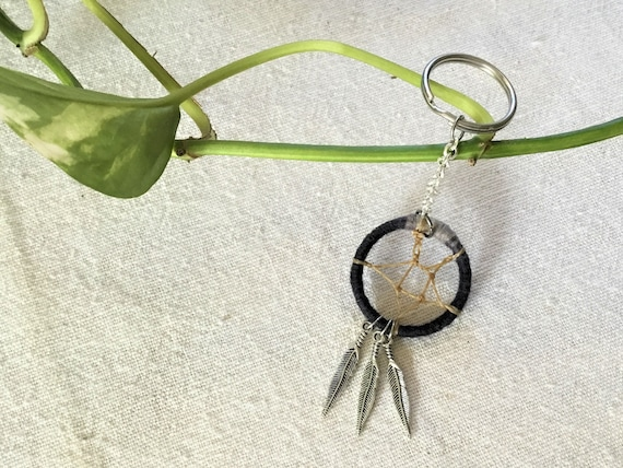 Black Dreamcatcher Keychain with Feather Charms
