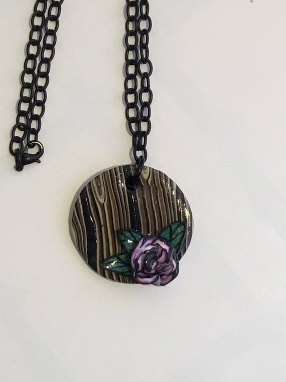 Handcrafted Woodlook Polymer Clay Pendant with Rose