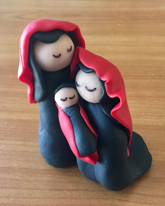 Nativity Three Figure One Piece in Red and Black