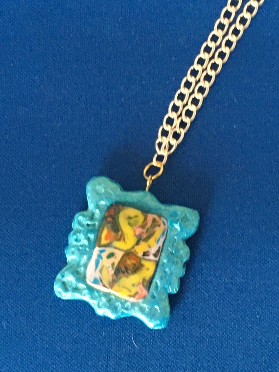 Vintage Style Blue Frame Handcrafted Polymer Clay Pendant