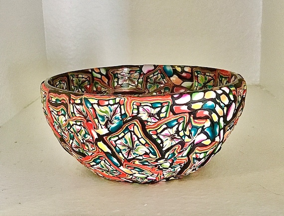 Stained Glass Look Polymer Clay Glass Bowl