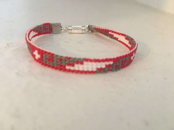 Loom Beaded Narrow Bracelet in Red White and Gray