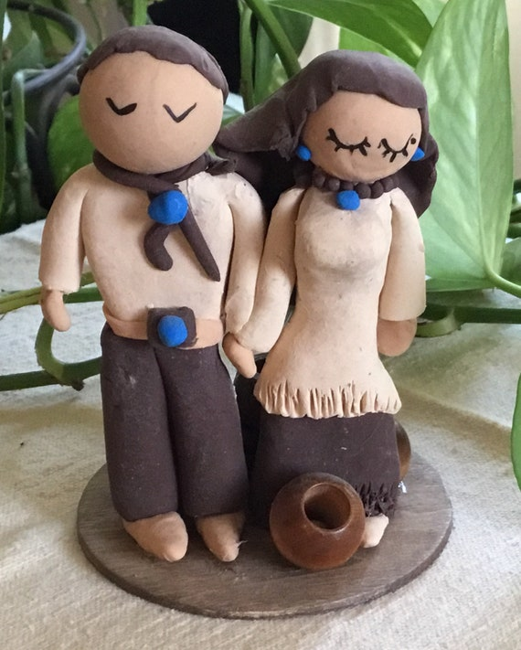 Western Couple Wedding Cake Topper
