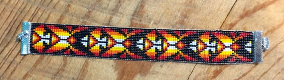 Beetle Fire Colors Loom Beaded Wide Bracelet