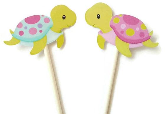 Sea Turtle Cake Cupcake Toppers Picks Set