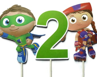 Super Why cake toppers - set of 3, centerpiece sticks, toppers, Super Why birthday party