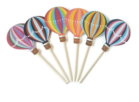 Up Up /& Away Cupcake Toppers 12CT  Hot Air Balloon