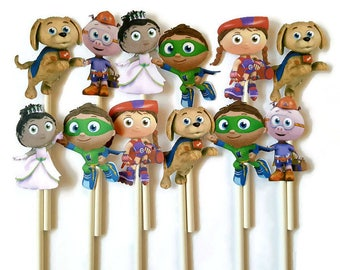 Super Why cupcake toppers - set of 12, cake toppers, Super Why birthday party