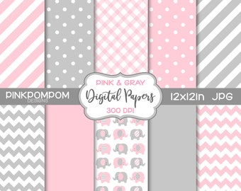 Pink and Gray digital papers – baby girl digital paper - baby elephant - baby shower - pink gray nursery - pink grey baby - JPG