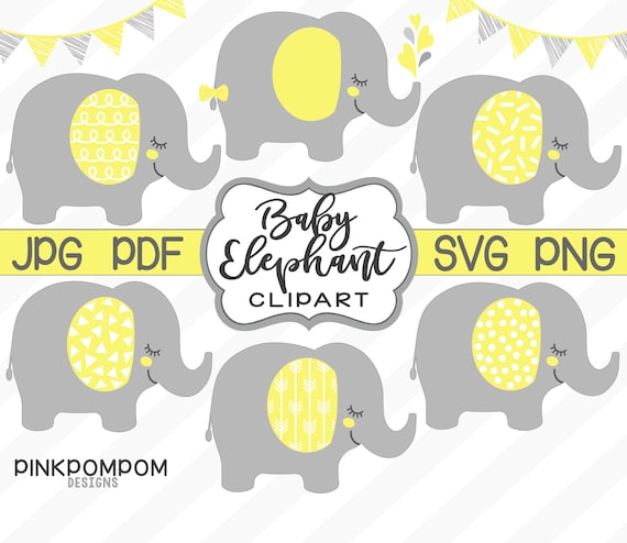 Baby Elephant Clipart Set Yellow Gray Elephant Svg Etsy | # elephant png & psd images. etsy