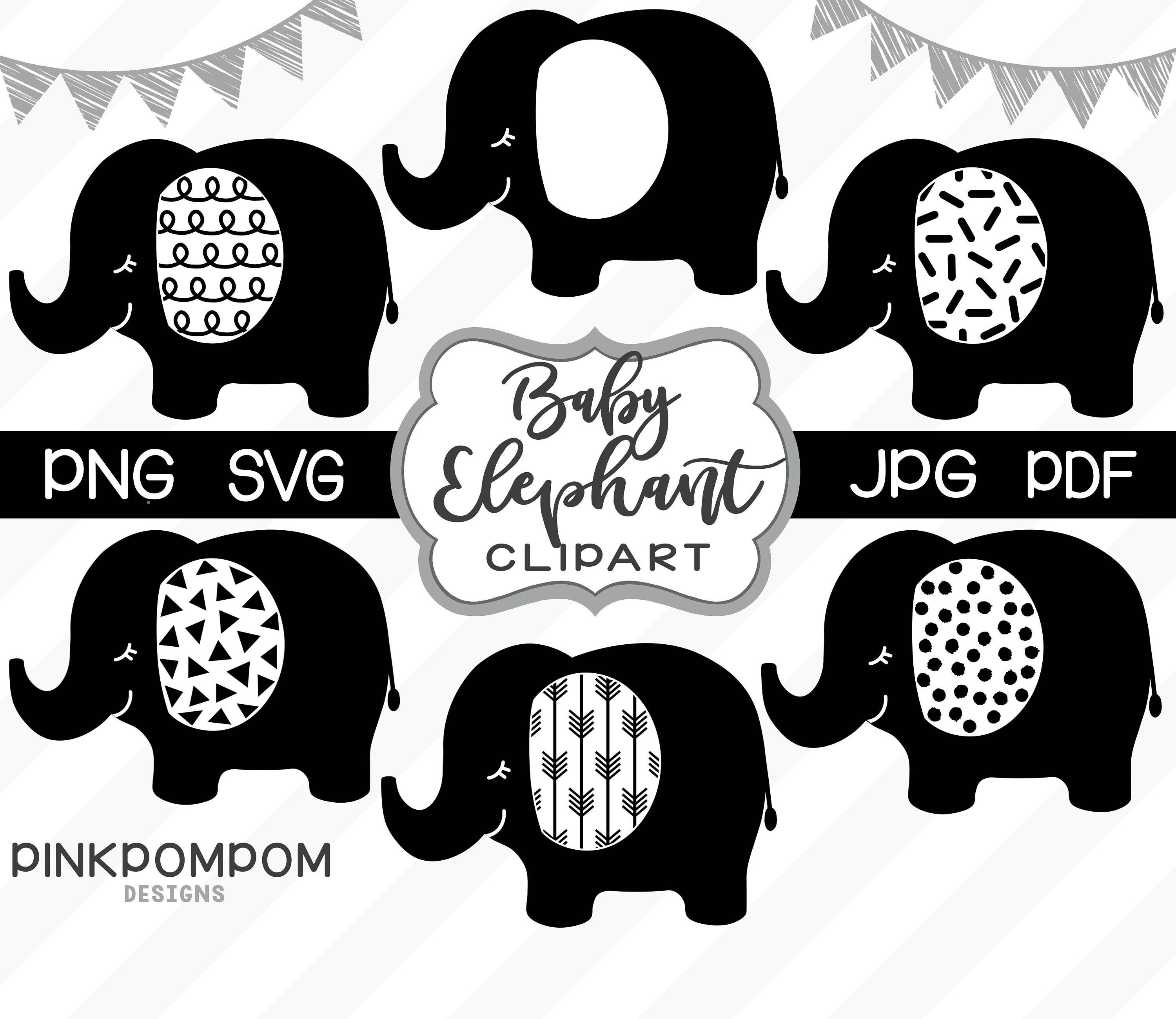 Baby elephant clipart set black elephant svg printable elephant elephant baby shower personal and commercial use svg png jpg