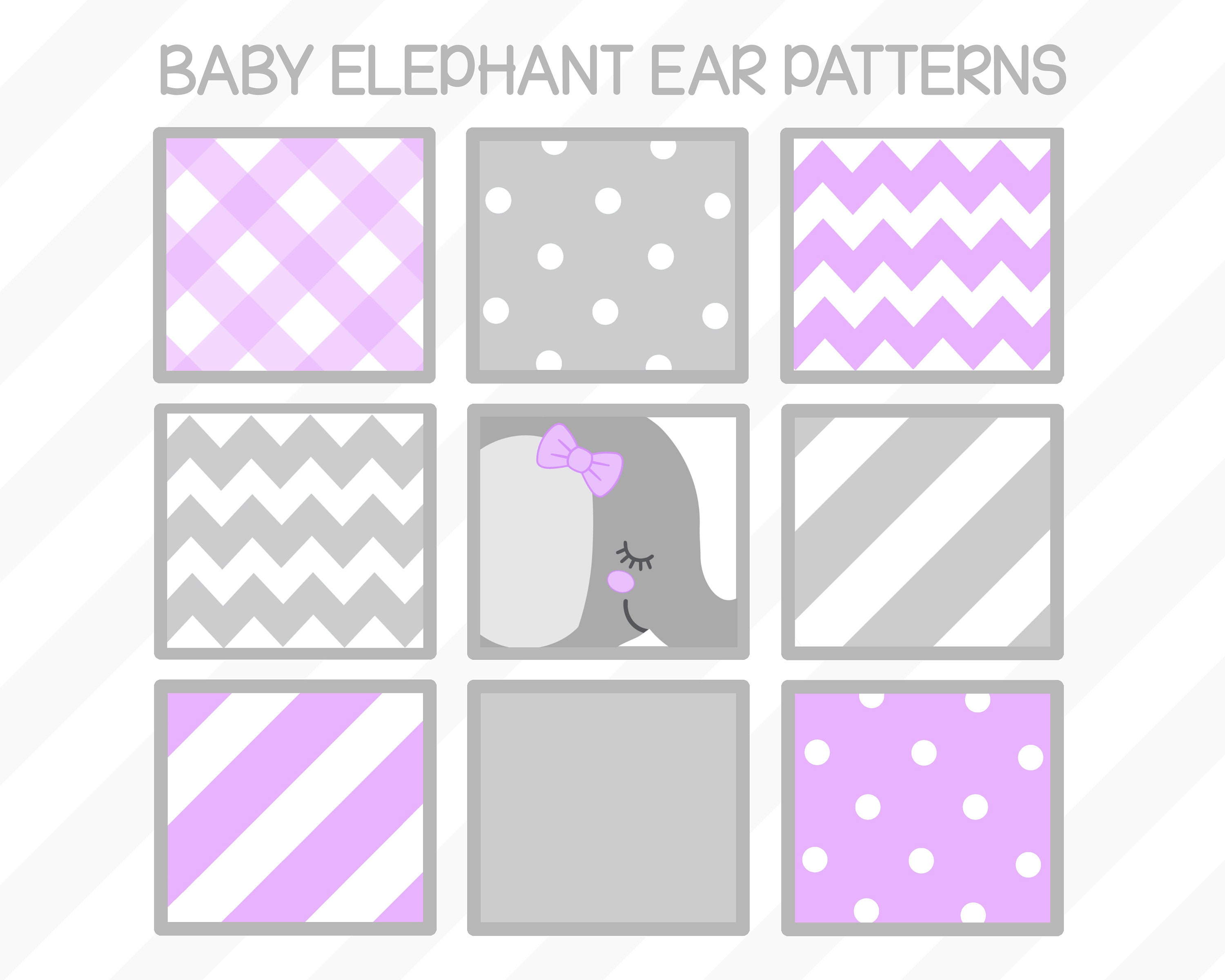 Baby Elephant Clipart set – lavender and gray baby shower - lavender ...