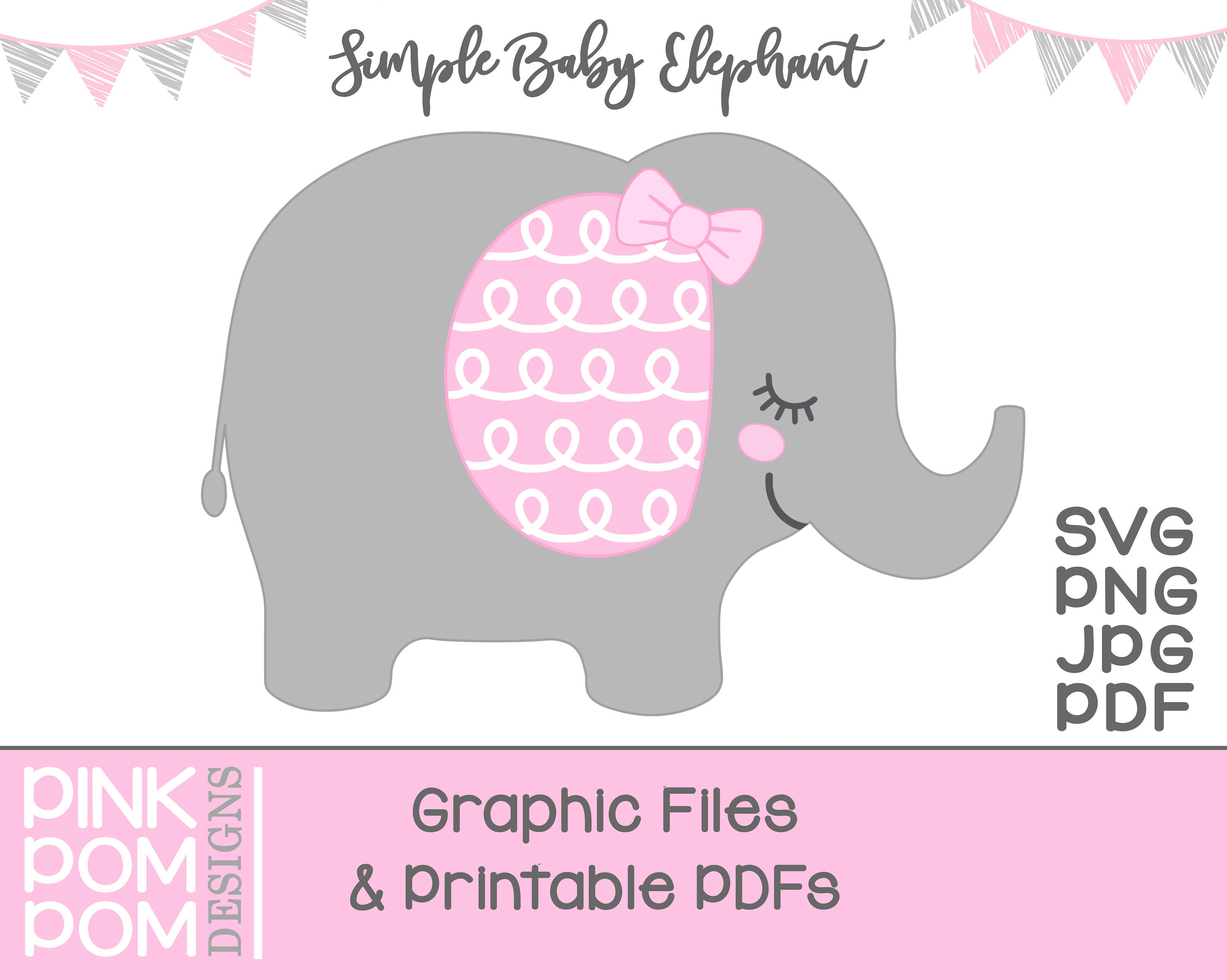 Baby Elephant svg graphic and print pink gray elephant svg | Etsy