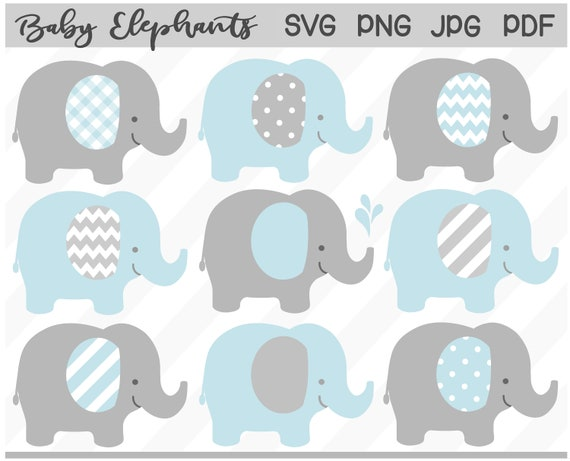 Baby Elephant Svg Blue Gray Elephant Clipart Boy Baby Etsy