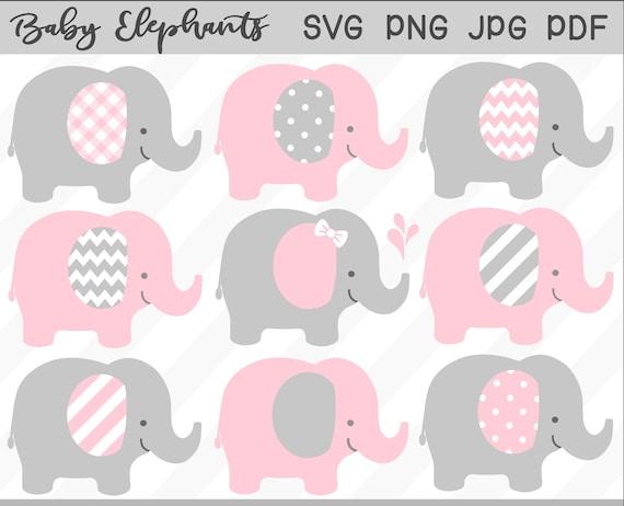 Baby Elephant Svg Clipart Set Pink Elephant Baby Shower Etsy