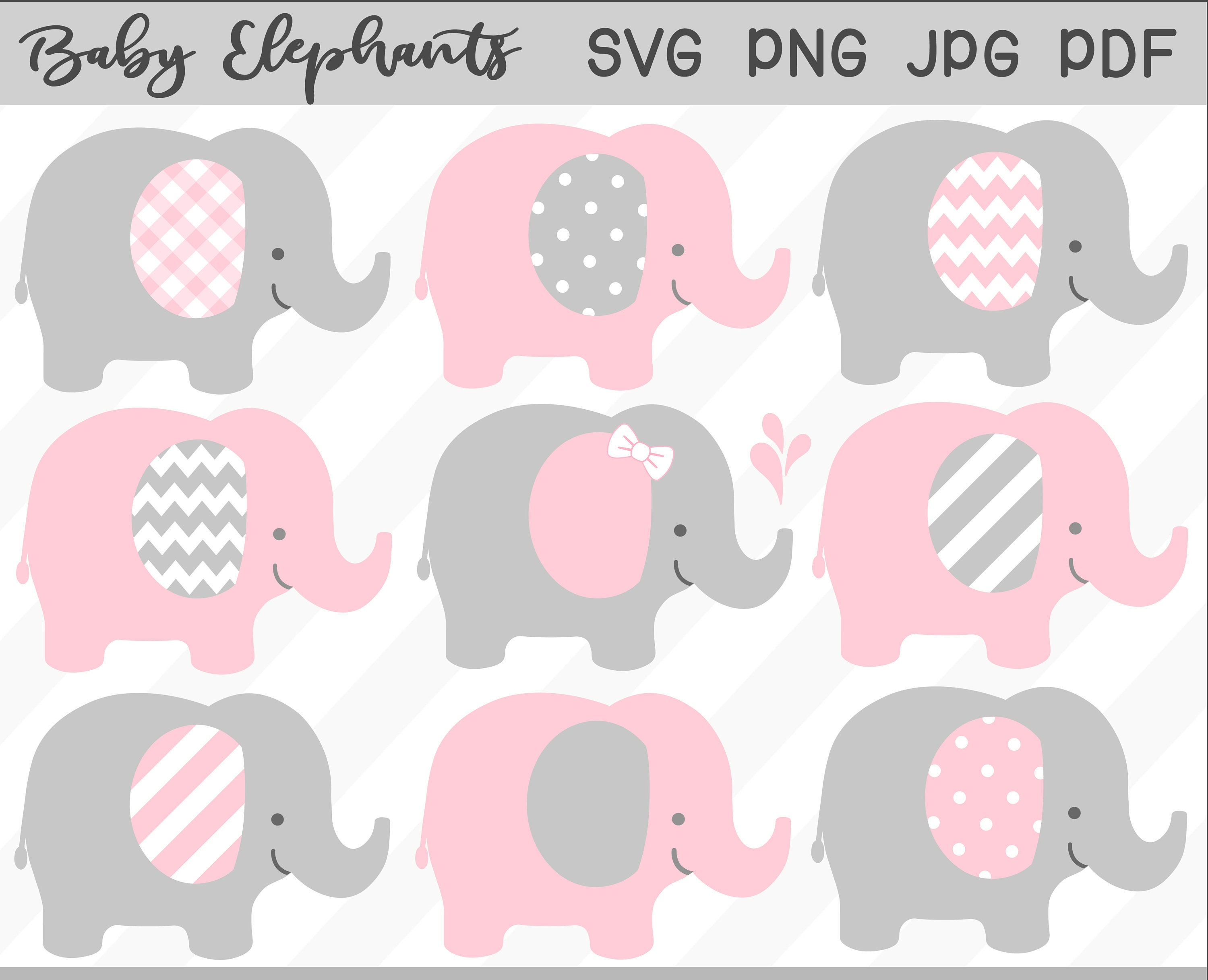 Baby Elephant SVG & Clipart Set pink elephant baby shower ...