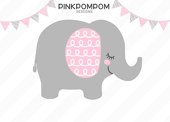 Baby Elephant Svg Pink Gray Elephant Clipart Baby Shower Etsy