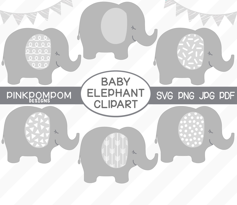 Baby Elephant Clipart Set gray elephant svg printable | Etsy